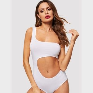 White Cut Out Asymmetrical One Shoulder Bodysuit